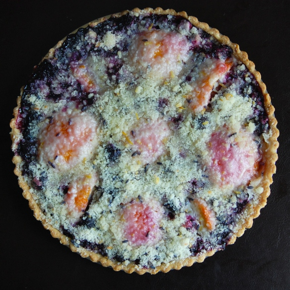 lavender peach blueberry pie